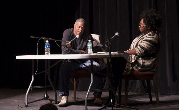Paul Beatty on stage with Mariel Rodney, assistant prof of literature