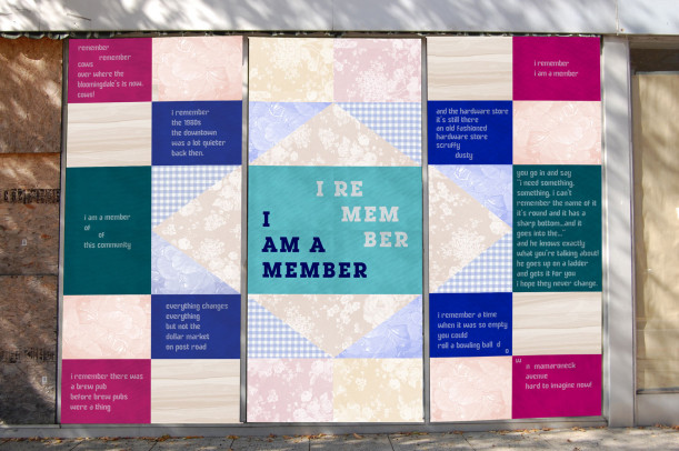 <p><em>I Remember</em>, poem by Judith Sloan, design by Danielle Foti, Art in Vacant Spaces 2016 installation</p>