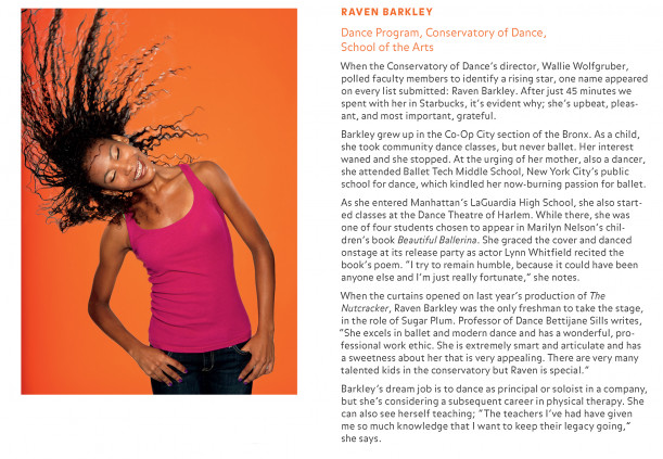 Feature story on Raven Barkley '15 from p16 of the Fall 2012 issue of PURCHASE Magazine
