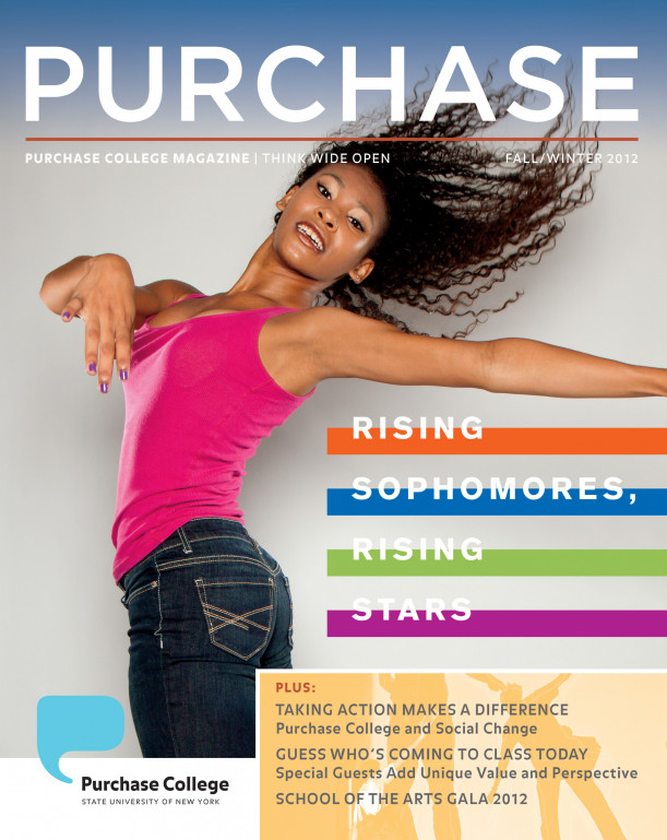 Raven Barkley '15 on the cover of the Fall 2012 issue of PURCHASE Magazine