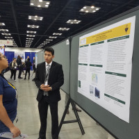 Jorge Acuña (Biology, '20) presents research at ABRCMS 2018.