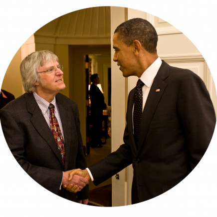 President Barack Obama and Joe Skrivanek, Distinguished Service Professor of Chemistry, welcomes ...