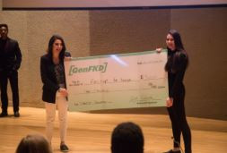 Shark Tank Winners 2018, Professor and student holding a check