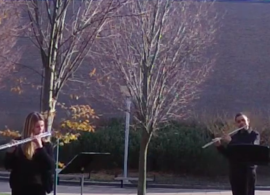 Flute students performing outside