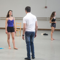 Student in the studio with choreographer Luca Veggetti