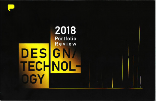 Black and yellow graphical designed invitation for Design Technology Portfolio Review 2018