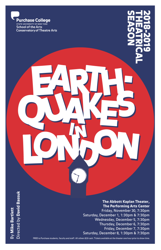 poster for Earthquakes in London by Mike Bartlett, poster design by Purchase College Communications + Creative Services.