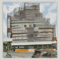 Painting of an industrial building4th and 1st #32016oil on linen24 x 25 inches