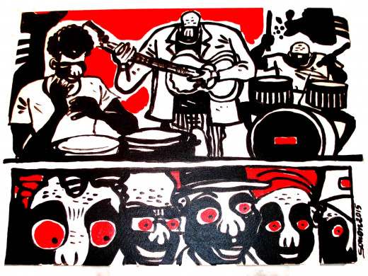 Hector Sonon, Orchestre, acrylic on canvas