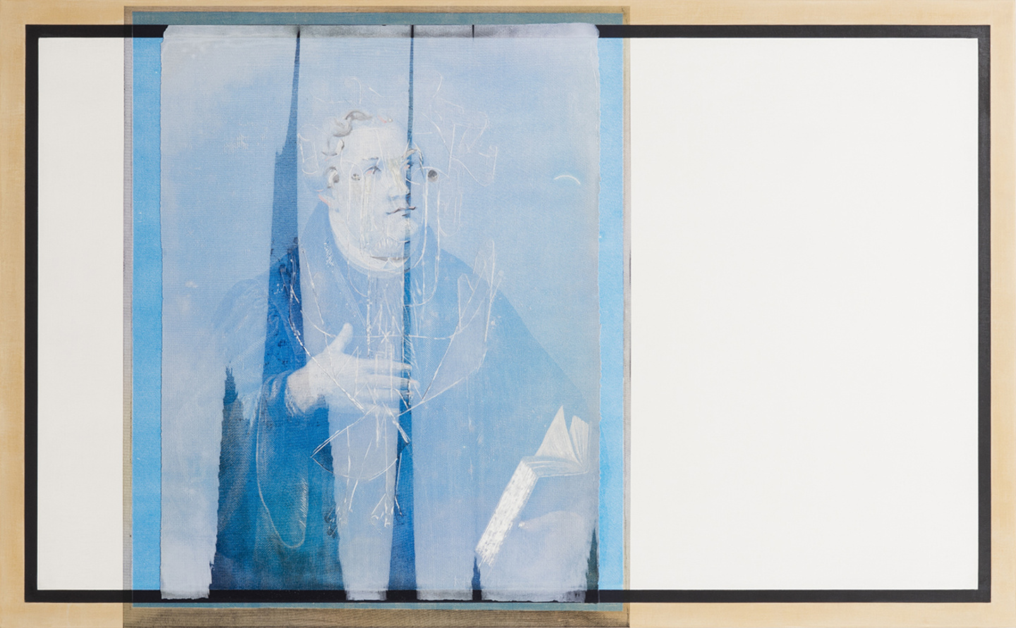 R. H. Quaytman, חקק, Chapter 29 (2015), oil, silkscreen ink, and gesso on wood, 63 × 102 × 2 cm, courtesy R. H. ...