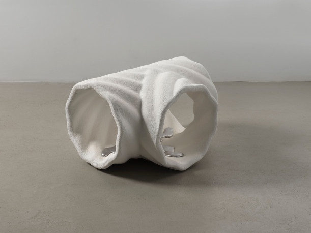 Sam Ekwurtzel pipe junction, partially drained, 2018. Fused silica ceramic shell, aluminum draina...