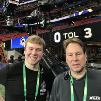 Declan Moore '19 and Dave Grill '86 at Super Bowl 2019