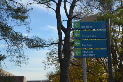 Campus directional signs on campus.