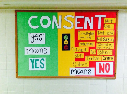 Resident Assistant Bulletin board educating students on consent
