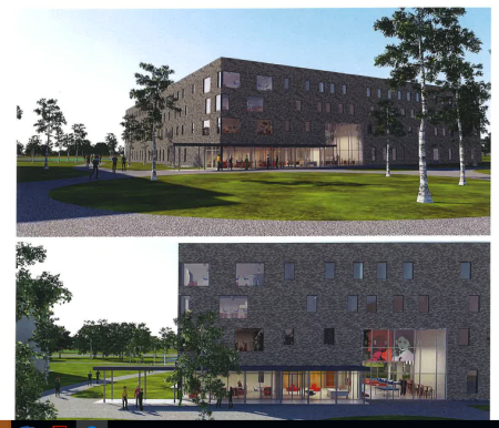 Exterior rendering of new residence hall.