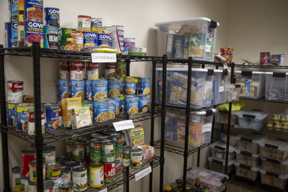 Stocked shelves in the Food Pantry