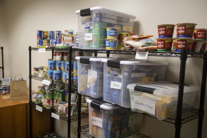 Collected items in the food pantry