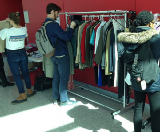 Students browsing clothing on Job Fair Prep Day