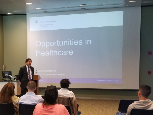 Jonathan Tamir presenting on opportunities in healthcare.
