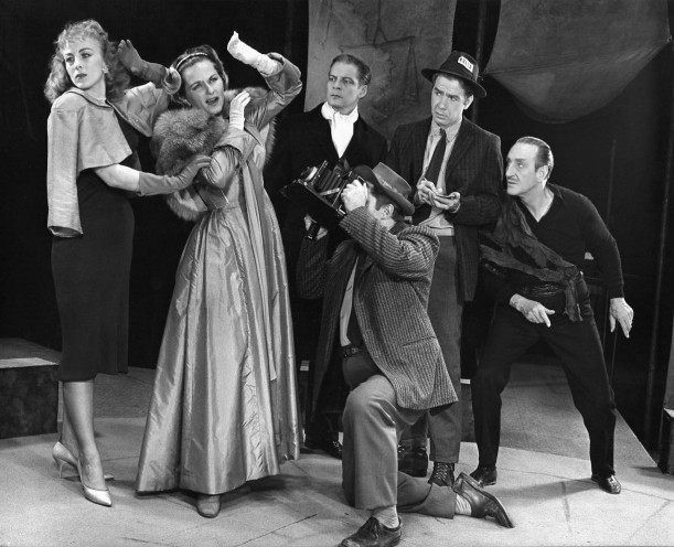 Rosemary Daley, Eulalie Noble, Michael Higgins, Richard Kuss, James Ray, and Basil Rathbone in Archibald MacLeish's Pulitzer Prize–winning play J.B., directed by Elia Kazan.