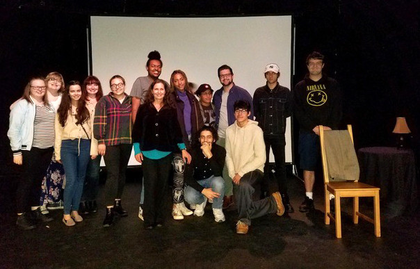 Purchase College students onstage with Lenka Pichlíková, lecturer in Theatre and Performance before a performance at the Ridgefield Theatre Barn in Ridgefield, CT.
