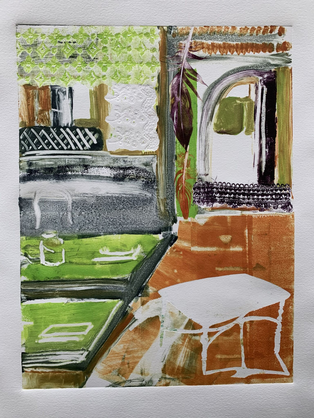 "Taiss Ghuliani, Eating Out, 2019, Monoprint, 11 x 15"" ©Taiss Ghuliani"