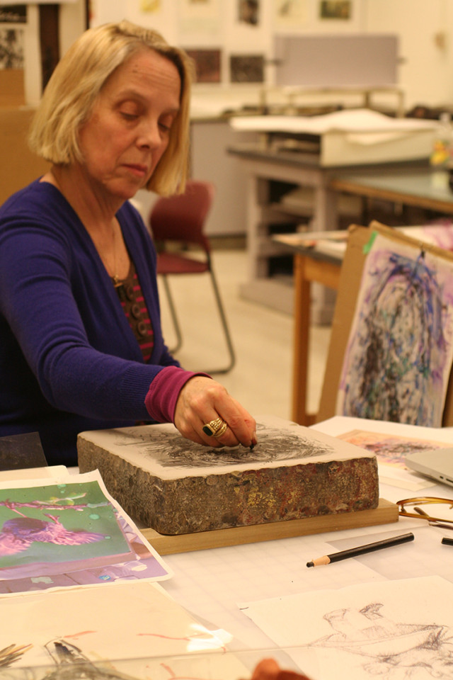 Judy Glantzman drawing on a lithographic stone at a Normal Editions Workshop (NEW), a nonprofit print research facility in...