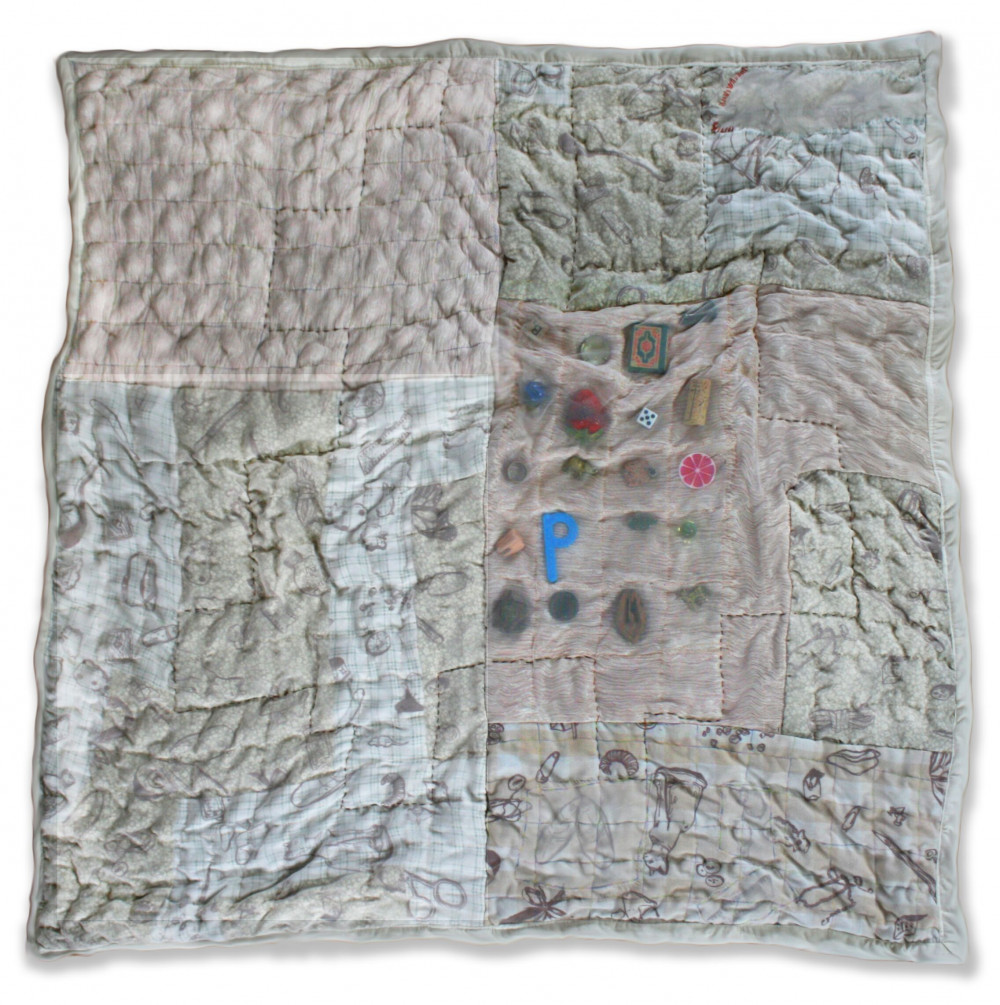 Maddie Osborne, Weighted Quilt, 2020, Silk-screened recycled bed sheets, recycled curtains, matte...