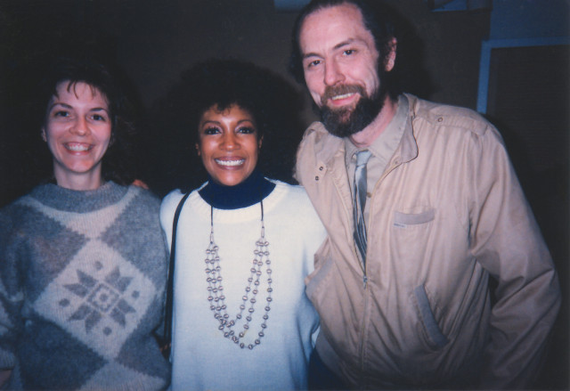 Jim McElwaine with Mary Wells of the Supremes and Vanguard engineer Rebecca Everett, 1989 recording session