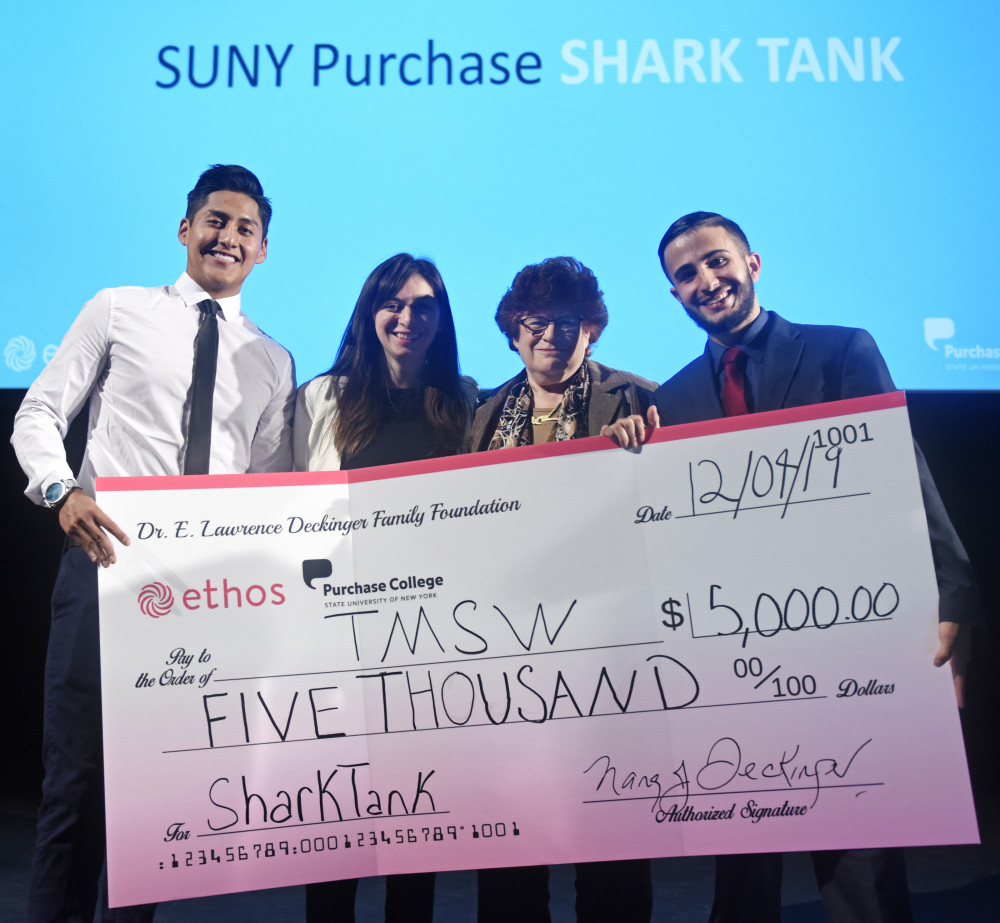 Startup Purchase 2019 Winners Andres Hernandez-Rodriguez and Brian Farez with Professor Liya Palagashvili and Nancy Deckinger
