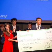 Purchase College Startup Pitching Competition: Front (holding the check): Liya Palagashvili (economics professor), Sheldon...