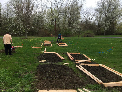 Work day one: Building the garden beds