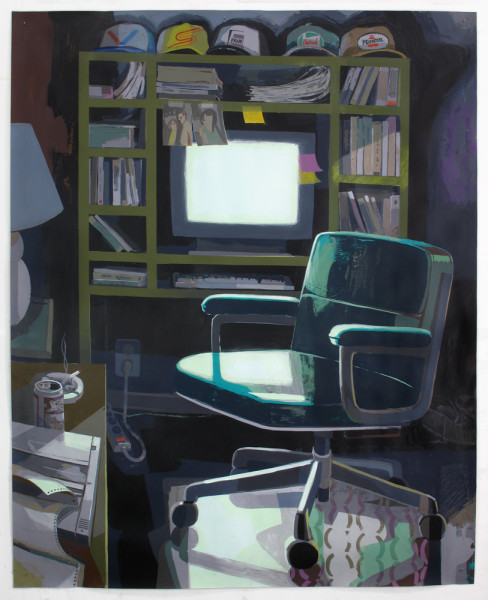 "Dad's Home Office, flashe and acrylic on paper, 60"" x 48"", 2016"