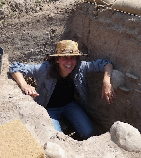 Rachel Hallote on an archaeological excavation