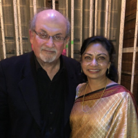 Salman Rushdie and Prof. Gaura Narayan backstage after the show