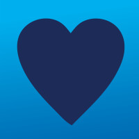 Purchase Cares Icon (Navy blue heart over lighter blue background)