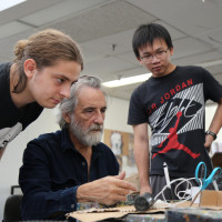 Artist in Residence Ignacio Iturria in the studio with students