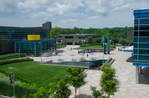 Bird's eye view of the campus plaza.