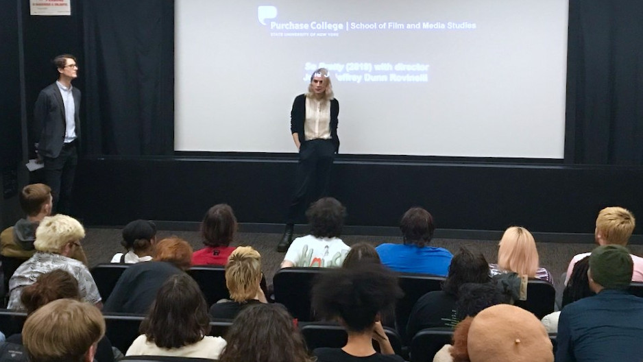 "Students engaged in a lively Q&A with Jessie Rovinelli after the screening of ""So Pretty."""