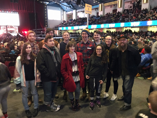 Students from the new media class Tactical Practical at a WWE event.