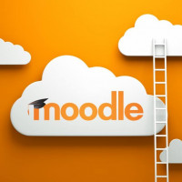 Moodle logo with ladder and clouds