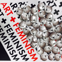 Art+Feminism promotional flyer with Wikipedia buttons