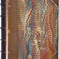 "Front marbled cover of ""Viviparous Quadrupeds of North America"" by John James Audubon, 18..."