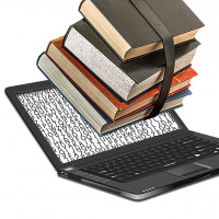 Books popping out of laptop