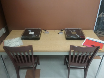 Record listening stations in the Library's Music Collection