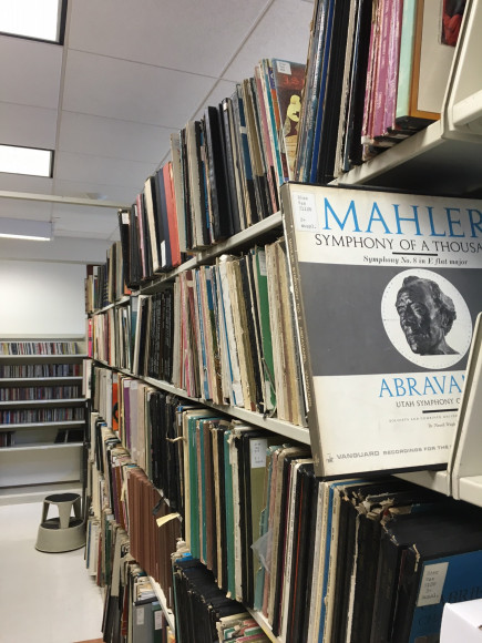 LP shelves in Music Collection featuring LP by Mahler