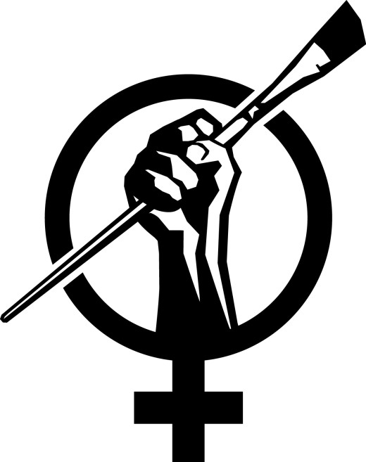 Art+Feminism logo, women's symbol with fist clutching a paintbrush