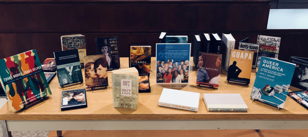 Photo of the LGBT History Month display, which features notable works by, for, and about LGBTQ people, located near the Library Reference desk, October 1-30, 2017.
