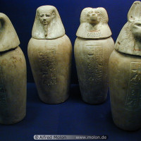 Set of four canopic jars from Ancient Egypt