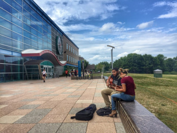 Jamming outside Student Services Building